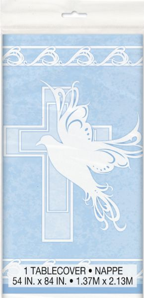 Dove Cross Blue Plastic Tablecover